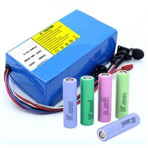 Litio Bateria 18650 48V 12AH 48V 500W Bizikleta Bateria Elektrikoa BMSarekin