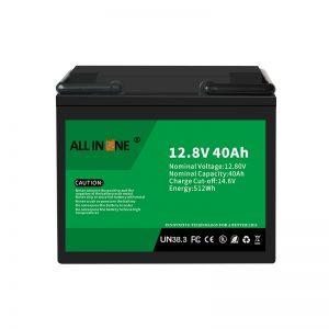 12,8V 40Ah LiFePO4 Berun azidoaren ordezko litio ioi bateria 12V 40Ah