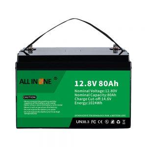 Berun azidoaren ordezko ezagunena Solar RV Marine LiFePO4 12V 80Ah litiozko bateria