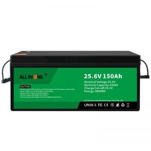 25,6V 150Ah LiFePO4 berun azidoaren ordezko litio ioi bateria 24V 150Ah