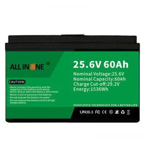 25,6V 60Ah segurtasuna / bizitza luzeko LFP bateria RV / Caravan / UPS / Golf Saskia 24V 60Ah