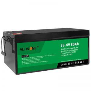 38,4V 80Ah LiFePO4 berun azidoaren ordezko litio ioi bateria paketea, 36V 80Ah