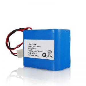 6.4V 12Ah LiFePO4 karga litio 26650 32650 bateria paketea eguzki argirako konektorearekin